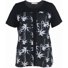 "BNWT ""STUDIO"" LADIES PLUS SIZE PALM TREES PRINT TOP/BLOUSE from  DENMARK,SIZE 14"