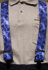 "Suspenders 2""x48"" FULLY Elastic Biker Blue Flame & Smoke NEW"