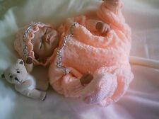 "KNITTING PATTERN BABY 0-3 MONTHS OR REBORN DOLL 19""-21"" Patt 11 Peach"
