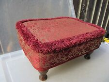 Old Footstool Fabric Pouffe Wooden Legs Upholstery Vintage Retro Red Floral