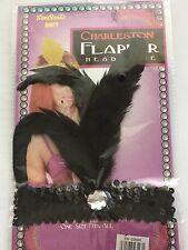 Black Sequin Feather Headband 1920s Fancy Dress Charleston Flapper Band-SHIP 3PM