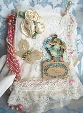Antique VTG Lace Fabric & Greeting Card Collage Scrap Book Photo Album Mix Media