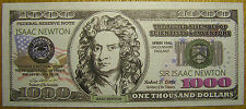 Isaac Newton 1000 Dollars USA Money Bill Play Fun Gift Party Novelty Not Real