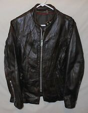CAFE MOTORCYCLE JACKET CLASSIC BIKER STYLE DARK BROWN LADY'S SIZE 17