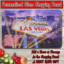 PERSONALISED LAS VEGAS STAG NIGHT GLASS CHOPPING BOARD HOUSE WARMING GIFT ST196