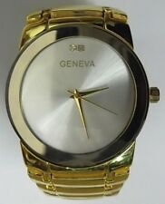 Mens Formal Closed Band Watch, Gold Plate, 2 Stones, Great Fathers Day Gift, NEW