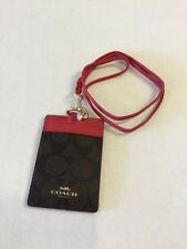 COACH F63274 SIGNATURE LANYARD ID CASE TAG BROWN TRUE RED NEW
