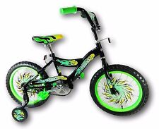 "Kids 16"" Kismo Girl's Boy's Training Wheels Bicycle Bike Green For Age 4-8"
