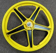 BMX Mag Wheel 20 in Front for Old Mid School Bike Yellow  3/8 in Flatted Axle