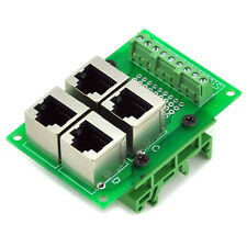 RJ45 8P8C 4-Way Buss Board Interface Module with Simple DIN Rail Mounting feet.