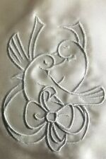 Cream Satin Embroidered Wedding Bag with Doves