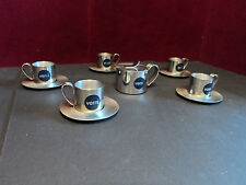 Vemi Espresso Coffee Cups, Saucers, Creamer Stainless Steel 18/10 Italy 11pc Set