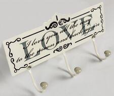 Cream Metal Coat LOVE Hook Key Design Hallway House Car Keys Home Decor