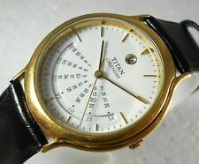 RARE TITAN CALENDER QUARTZ INDIA WHITE DIAL GOLD PLATED MEN'S COLLECTORS WATCH