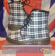 England Vintage*Black & White Tartan Check Canvas Dr Doc Martens*Vegan*Punk*UK 7