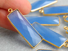 Vermeil Bezel Blue Chalcedony Faceted Rectangle Pendant Focal Point 11x34mm.