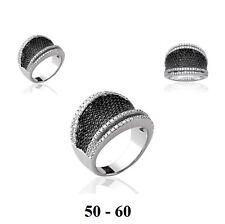 Dolly-Bijoux Bague Rhodié T58 Micro-sertie de Diamant Cz Noir & Blanc Argent 925
