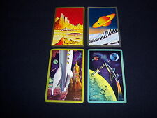 (4) single OUTER SPACE playing cards--VINTAGE sci-fi ART--saturn ROCKETS planets