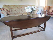 Large Oval Solid Mahogany Drop Leaf Coffee Table Possibly G.T. Rackstraw