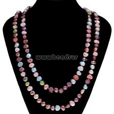 New Women Natural Baroque Multi-colored Freshwater Pearl Long Necklace Chain