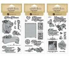 Graphic 45 MON AMOUR 34-pc Cling Stamp 1-2-3 Love Kisses Heart Mixed Media