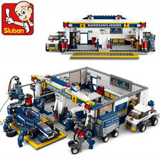 Sluban B0356 Formula Car Repair Station Minifigure Enlighten Building Blocks Toy