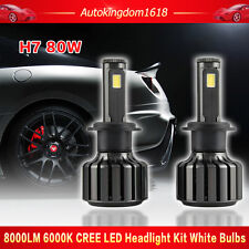 H7 80W 8000LM CREE LED Headlight Kit Beam HID Replacement Bulbs 6000K High Power