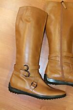 Tod's Brown Tall Riding Flats Side Zip Buckle Boots Shoes 10 M