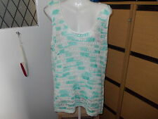 PAPAYA CREAM AND GREEN SLEEVELESS LADDER STITCH JUMPER SIZE 16