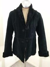 Giacca leather jacket womens size M medium black faux fur coat A Gallery Company
