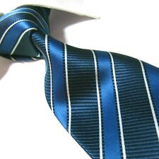 Extra Long Polyester Woven Tie,Microfibre Blue Stripe Men's XL Necktie PL354 63""