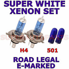 FITS FIAT GRANDE PUNTO 2006-ON   SET H4  501 SUPER WHITE  XENON LIGHT BULBS