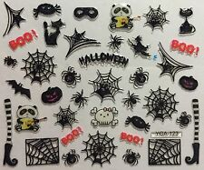 Nail Art 3D Decal Stickers Halloween Boo Spider Witch Boot Black Cat Mask YGA123