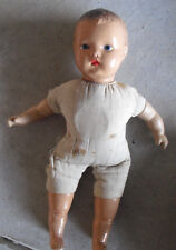 """Vintage 1940s Horsman Composition Cloth Baby Boy Character Doll 14"""" Tall"""