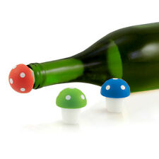 True Fabrications Toadstool Silicone Wine Bottle Stoppers - Set of 3