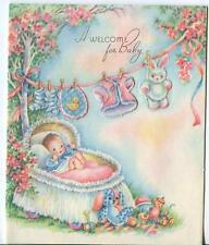 VINTAGE BABY GARDEN CLOTHESLINE LAUNDRY WASHING CLOTHES ROSES TOYS GREETING CARD