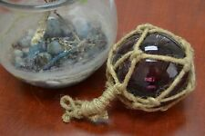 """REPRODUCTION PURPLE GLASS FLOAT BALL BUOY WITH FISHING NET 4"""" #F-505"""