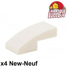 Lego - 4x Slope curved pente courbe 1x2 blanc/white 11477 NEUF