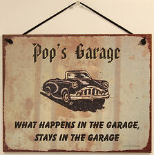 Pop s Garage Sign  Grandpa Grandfather Car Shop Mechanic Wood Worker Tool USA