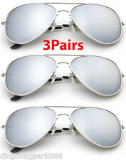 3 PAIRS CLASSIC SILVER MIRROR AVIATOR SUNGLASSES  PILOT COP SILVER METAL SHADES