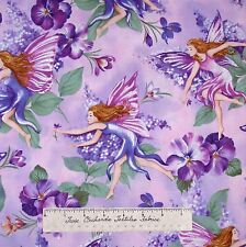 Floral Fabric - Flower Fairy Lilac Scene Purple - Timeless Treasures YARD