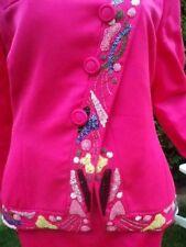 Renzo Kostüm Pink Perlen Pailletten Seide Gr 38 - 40