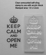 Keep Calm and Open Me, Clear Stamp for Christmas & Birthday Gift Tags