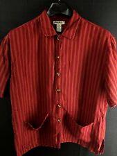 WOMENS EDDIE BAUER RED ORANGE STRIPED SHORT-SLEEVE CASUAL LINEN SHIRT LARGE