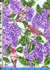 Fabric Northcott State Bird PURPLE FINCH NEW HAMPSHIRE LILACS FLOWER OOP RARE