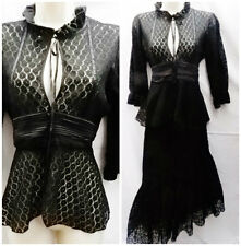 Asos  Black lace Blouse  Edwardian Victorian High collar Goth Steam Punk 10-12
