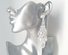 STUNNING sexy Long silver tone & diamante - crystal chandelier drop earrings NEW