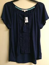 NWT Hint Of Mint Juniors  Navy Lace Peasant w/ Tassels Top Size Small