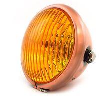 """5.75"""" Side Mount Halogen Motorcycle Headlight - Bronze - Amber"""