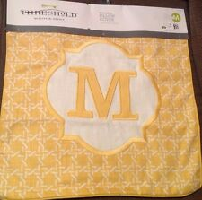 NEW Threshold Monogram Initial M  Square Throw Pillow Cover 18x18 Yellow (HAVE 3